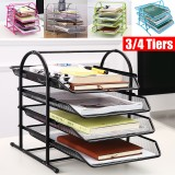 Bakeey 4 Tiers File Tray Letter Tray 4 Tier Paper Organizer Tray Wire Desk File Sorter Shelf for Mail Magazine Document Book