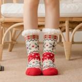Women Warm Winter Outdoor Christmas Style Snowflake Pattern Plus Velvet Thicken Home Sleep Socks Tube Socks