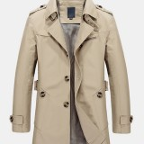 Cotton Mens Solid Color Mid-Length Sashes Single Breasted Lapel Long Sleeve Trench Coats