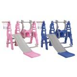 3-in-1 Children's Slide + Swing + Basketball Frame Kids Play Ground Combination Baby Playset Hoop Kit