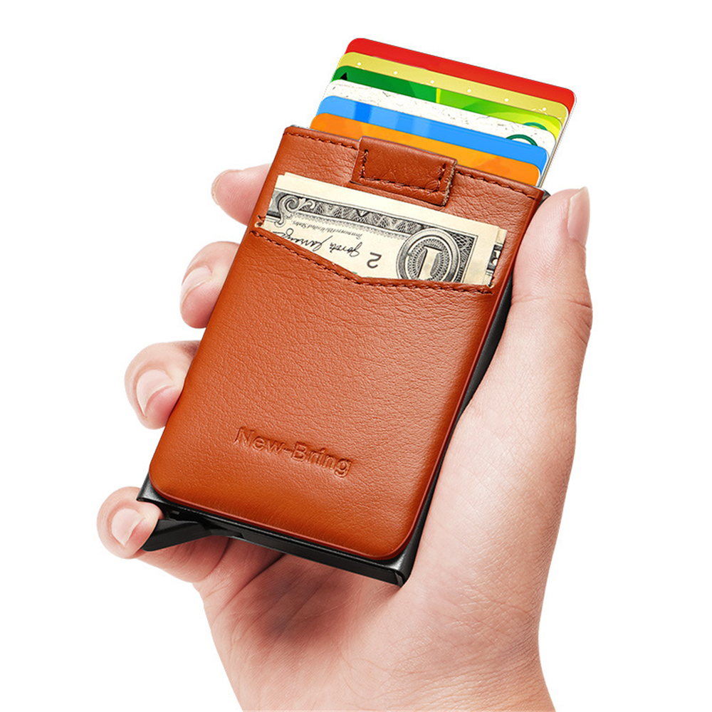 New-Bring Metal Card Holder Aluminum Leather RFID Protection Card Bag One-Push-Popup Design Card Holder Cash ID Card Metro Card Wallet