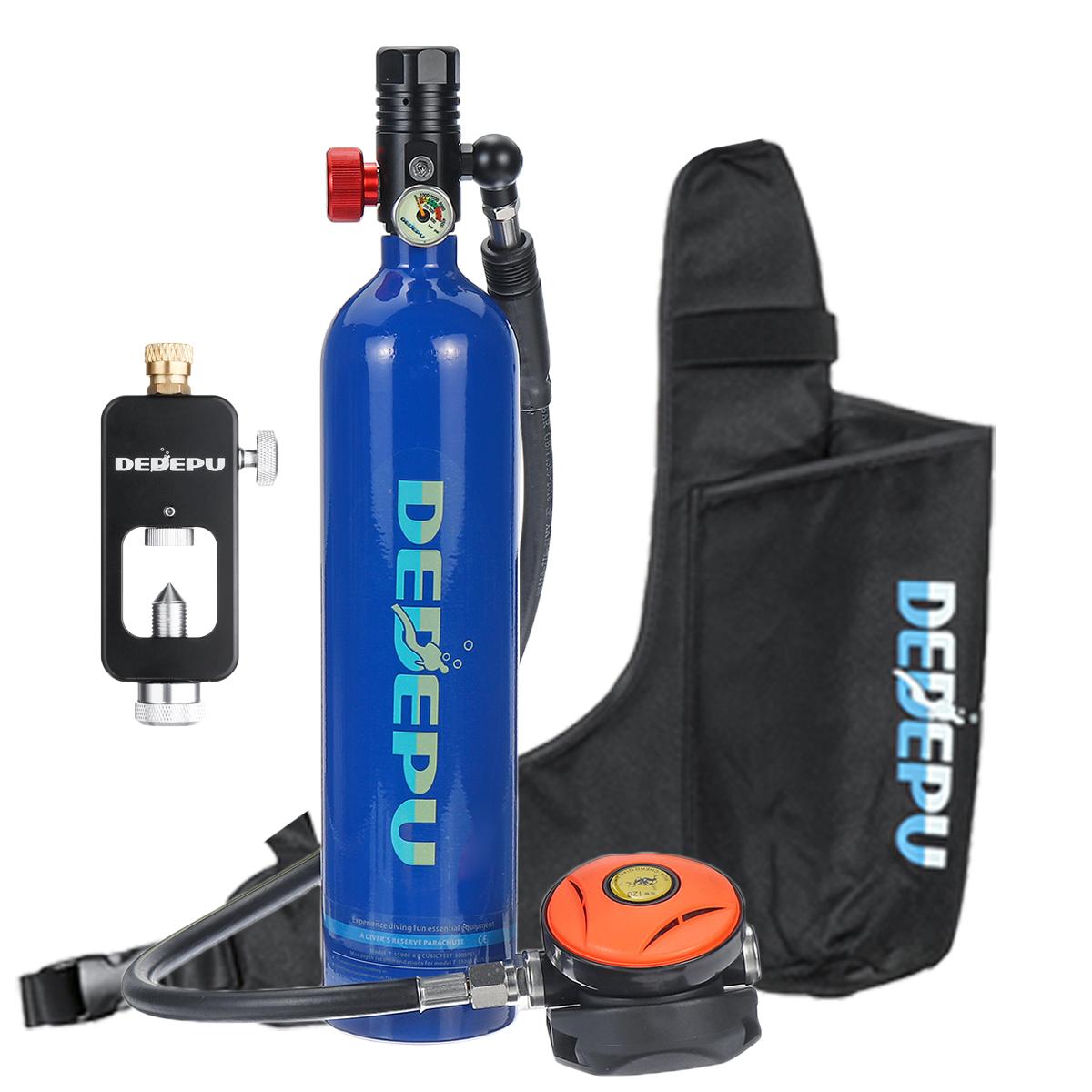 DEDEPU Scuba Diving Set 1L Diving Tank With Scuba Converter+Storage Bag Underwater Mini Scuba Tank Accessories