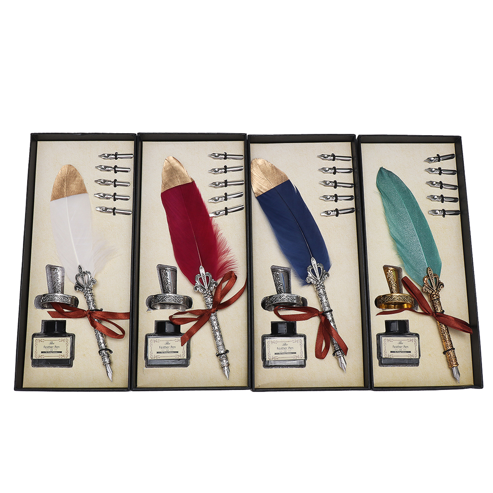 Vintage Feather Quill Dip Pen Writing Ink Set Perfect for Signning Handwriting School Office Stationery Gift Excellent Wedding