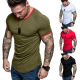 Summer Fashion Multicolor Cotton T-shirt Pure Color Simple Male's Casual Short-sleeved Tee Shirt