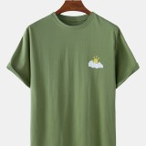 Cotton Cartoon Cloudy Weather Symbol Print Breathable Short Sleeve T-Shirts