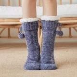 Women Warm Winter Outdoor Solid Color Plus Velvet Thicken Home Sleep Socks Tube Socks With Fluff