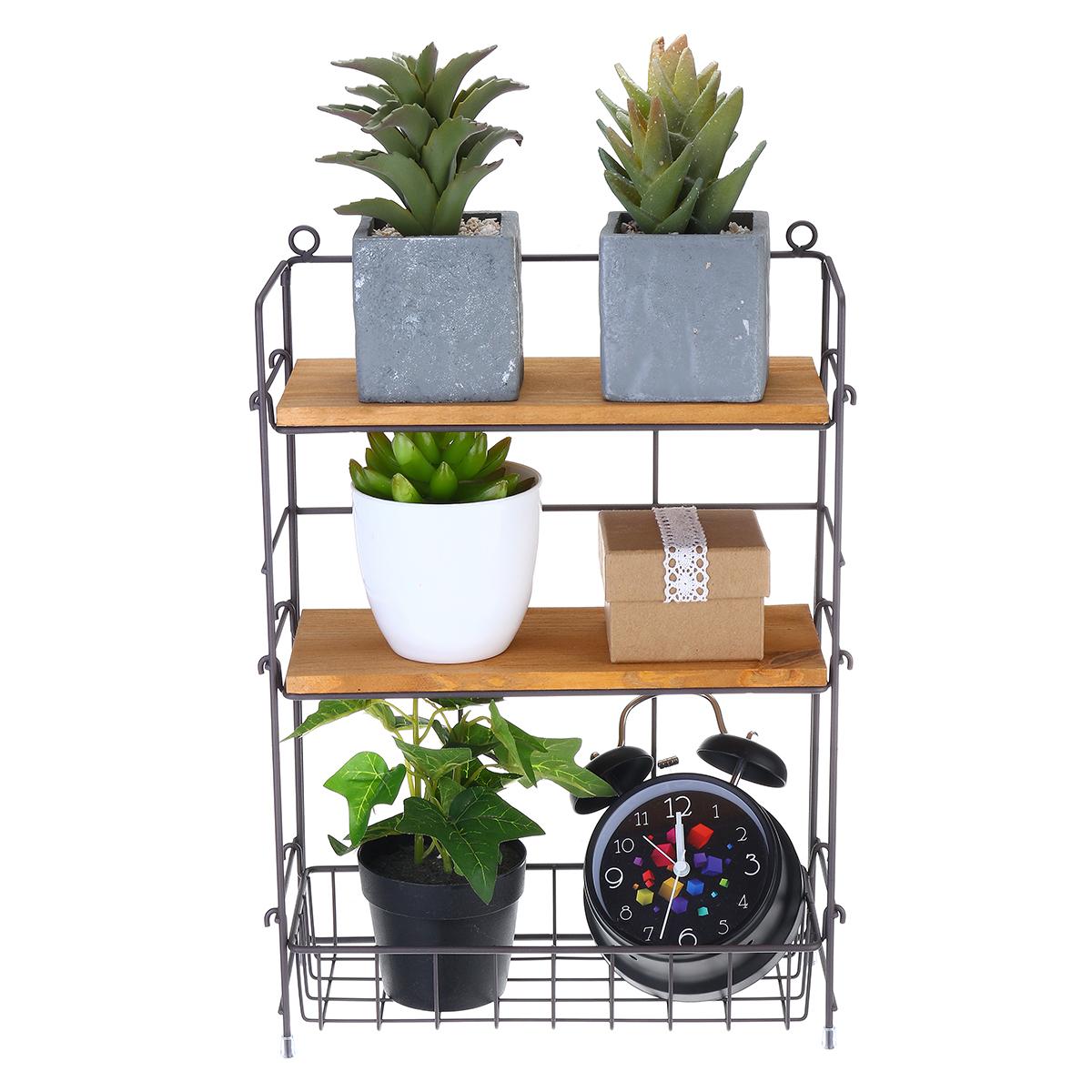 Storage Rack Iron Art Wood Shelf Floor-mounted Organizer Multi-purpose Container Home Bathroom Kitchen Sundries Organizers