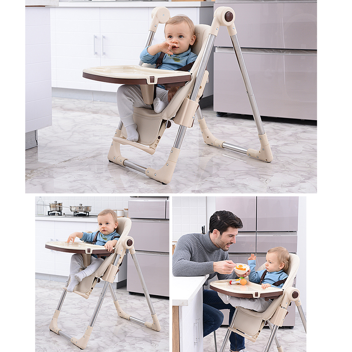 Baby Kids Booster Highchair Toddler Feeding Dining Chair Table Tray +Safety Belt