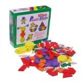 125 Pieces Wooden Children's Intellectual Geometric Shapes Building Blocks Jigsaw Puzzles Early Education Enlightenment Toys