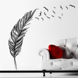 DIY Modern Plume Feather Wall Sticker Birds Flying Feather Removable Wall Sticker Vinyl Mural Painting for Home Living Room