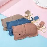 Women Genuine Leather Casual Cute Animal Nap Cat Pattern Mini Keychain Coin Bag Storage Bag