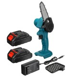 """550W 24V 4"""" Mini Cordless One-Hand Electric Chain Saw Woodworking Wood Cutter W/ 2pcs Battery"""