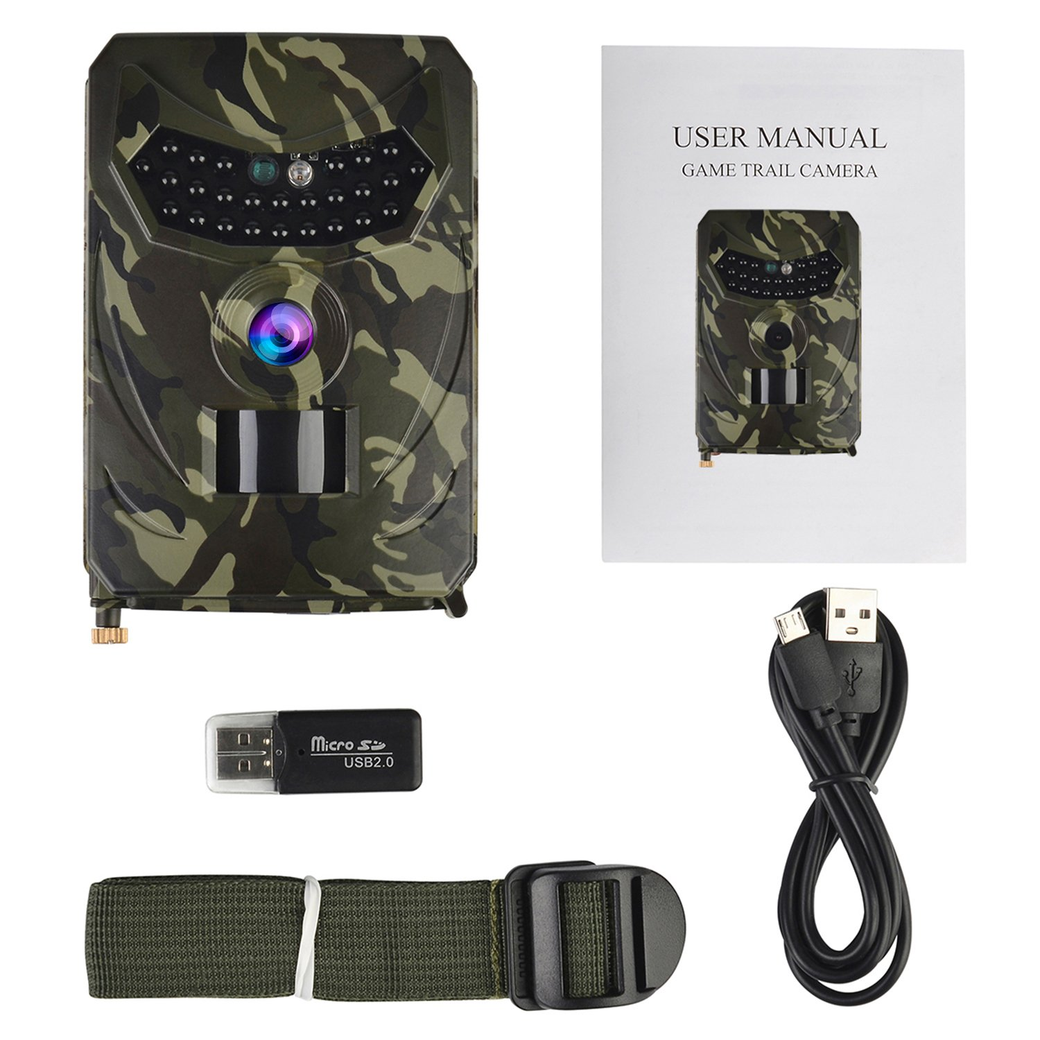 PR100B 12MP 1080P 120 Night Vision Hunting Camera IP56 Waterproof Wildlife Trail Camera for Home Security and Wildlife Monitoring