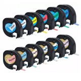 CIDY 1 Roll 12mm 3D Embossing PVC Label Tape Compatible Dymo Label Cassette for Dymo LetraTag Printer