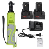 42V 100Nm 3/8 inch Electric Wrench Kit Cordless LED Light Right Angle Ratchet with 1/2 Batteries