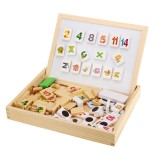 Wooden Magnetic Puzzle Kids Multifunctional Educational Learning Box Double-sided Drawing Board Educational Puzzle Toys Gifts