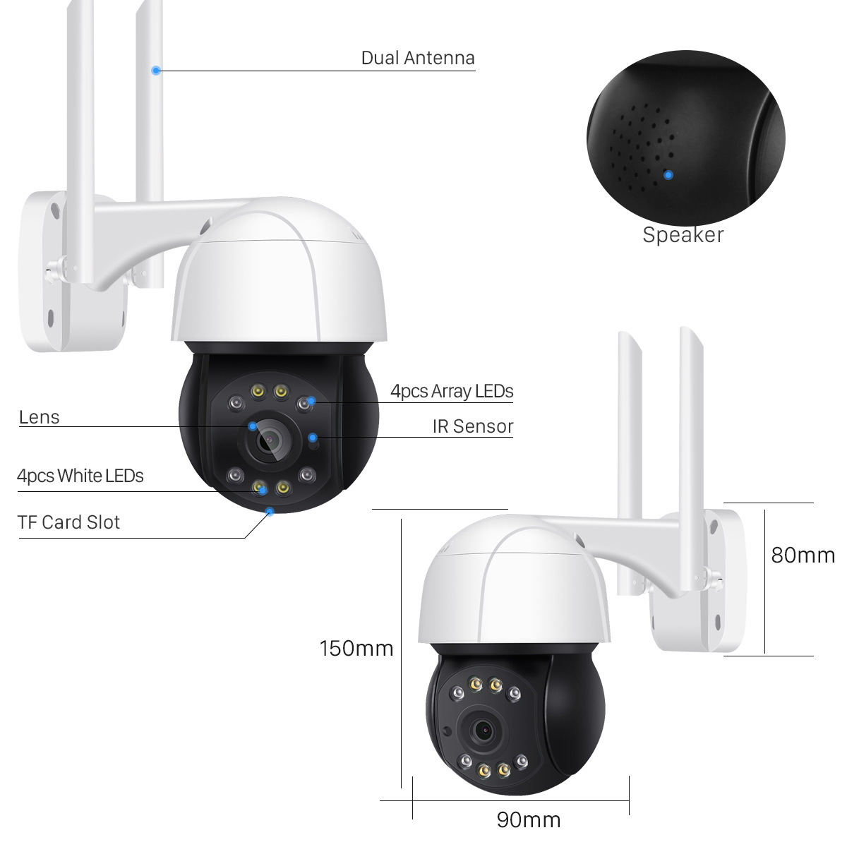 BESDER Intelligent AI 5MP 2MP Dome Camera Outdoor PTZ Control Surveillance Camera