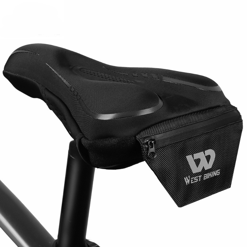 WEST BIKING Breathable Reflective Logo Flexible Silicone Adult Bicycle Bike Saddle Cover Cushion Cover With Storage Bag + Rain Cover