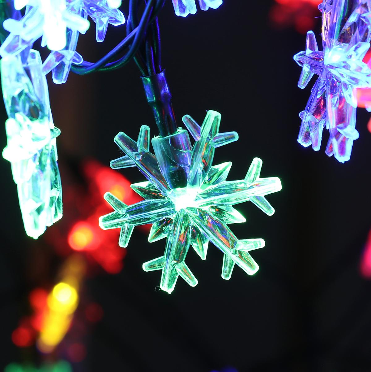 Solar Powered Snowflake String Fairy Lights Xmas Garden Outdoor Party Decor Lamp
