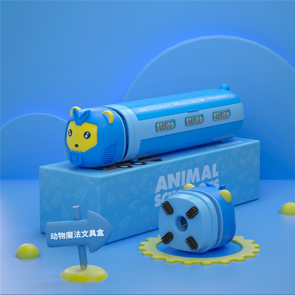 Creative Animal Stationery Box Double Layers Mulitfunctional Pencil Case Equipped With Pencil Sharpener/ Vacuum Cleaner Children Stationery Storage Holder
