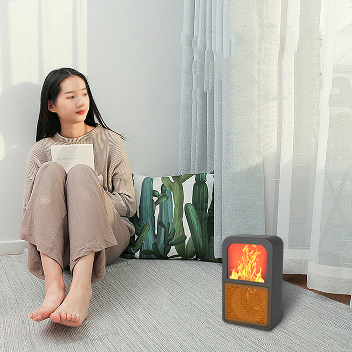400W Portable Mini Electric Space Heater 2 Gear Winter Air Heating Warmer Low Noise for Home Office