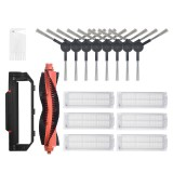 17pcs Replacements for Xiaomi Mijia STYJ02YM Vacuum Cleaner Parts Accessories Main Brush*1 Side Brushes*8 Main Brush Cover*1 HEPA Filter*6 Cleaning Tool*1