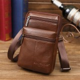 Men's Genuine Leather Mini Multifunctional Messenger 7 Inch Phone Bag Waist Bag Crossbody Bag