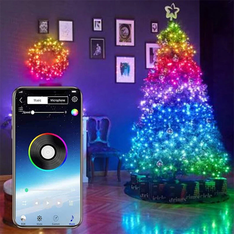Christmas USB Fairy Lights LED String Lights Music Sync Bluetooth APP Phone Indoor Outdoor Twinkle Lights 32.8FT Hanging Curtain String Lights Color Changing Starry Lights - 20m 200LEDS Christmas Decorations Clearance Christmas Lights