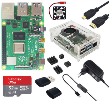 Catda 4GB RAM Raspberry Pi 4B + Cover Box + Power Supply + 32/64GB Memory Card +Micro HDMI DIY Kit