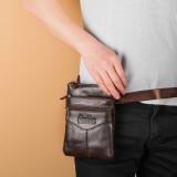 Men Genuine Leather Retro Business Casual 6.3 Inch Phone Bag Multi-carry Crossbody Bag Waist Bag