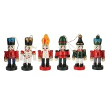 6pcs 6cm Color Nutcracker Christmas Pendant Wooden Nutcracker Doll Soldier Vintage Handcraft Puppet Christmas Decorative Gifts