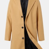 Mens Solid Color Single-Breasted Mid-Length Business Warm Trench Coats