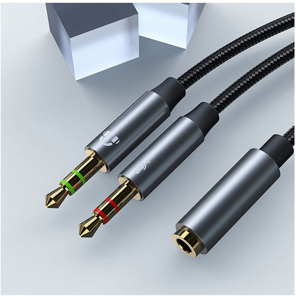 Kinmax Headphone Microphone 2 in 1 Adapter Audio Cable One Female to Double 3.5mm Male/One 3.5mm Male to Double Female Headphone Adapter 30cm