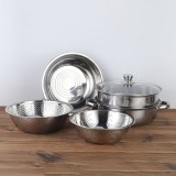 6PCS/Set Stainless Steel Outdoor Cookware Combination Pot Anti-Corrosion Lightweight Steamer Fruit Basin For Camping Hiking Household