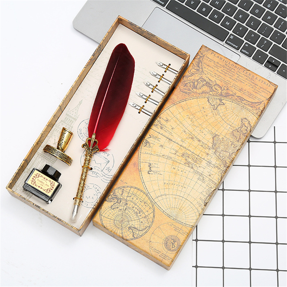 Retro Feather Dip Pen Set with 3 Nib Quill Stainless Steel Calligraphy Fountain Pen Business Gift Box Office Supplies