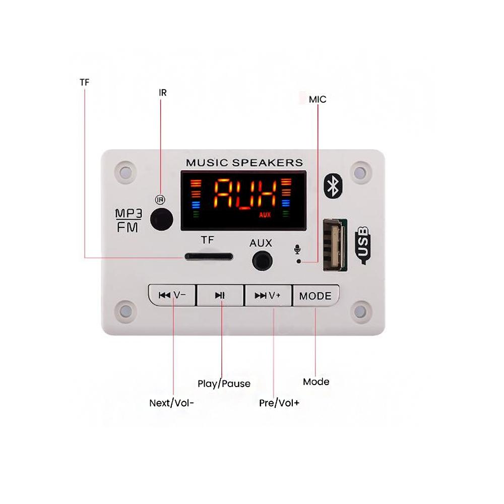 bluetooth 5.0 MP3 Player Decoder Board Colorful Screen FM Radio TF USB AUX Audio TF Radio Receiver Car Kit