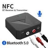 Bakeey 2 In 1 NFC-enabled bluetooth V5.0 Audio Transmitter Receiver 3.5mm Aux RCA Wireless Audio Adapter For TV PC Headphone Car Stereo System Home Sound System