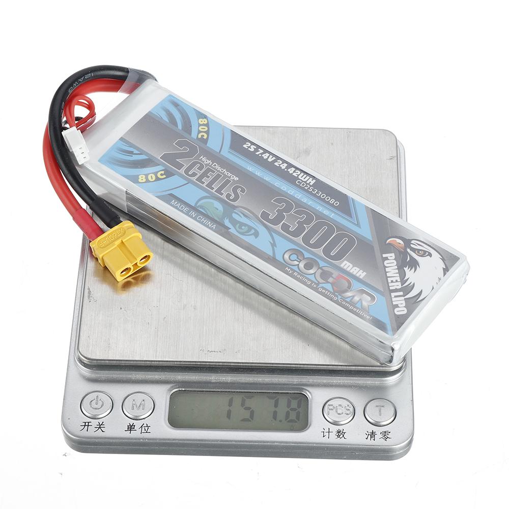 CODDAR 7.4V 3300mAh 2S 80C High Discharge Lipo Battery XT60 Plug for RC Drone