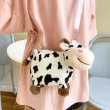 Women Cute Plush Cow Mini Bag 6.3 Inch Phone Bag Messenger Bag Crossbody Bag