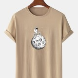 100% Cotton Funny Astronaut Print Round Neck Short Sleeve Casual T-Shirts