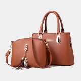 Women 2 PCS Large Capacity Handbag Shoulder Bag Crossbody Bag