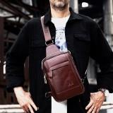 Men Genuine Leather Retro Business Casual Solid Color Leather Shoulder Bag Crossbody Bag Chest Bag