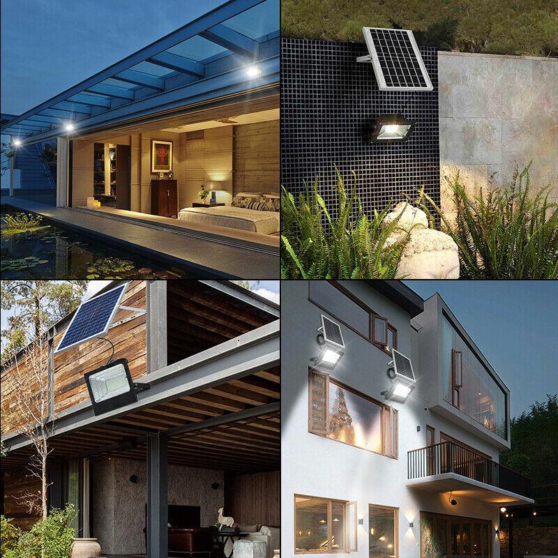 129LED Solar Light Street Flood Lamp Outdoor Waterproof Garden Spotlight + Remote Control