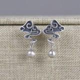 Vintage 925 Sterling Silver Earring Metal Ball Pendant Clouds Ear Stud Women Jewelry Gift
