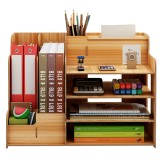 Wooden Desktop Organizer Multi-Functional Pen Pencil Holder Storage Box Stationary File Storage Rack Bookshelf with Drawer Home Office Supplies