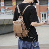 Men Retro Earphone Hole Multi-carry USB Charging Multi-Layers Waterproof Crossbody Bag Chest Bag Sling Bag