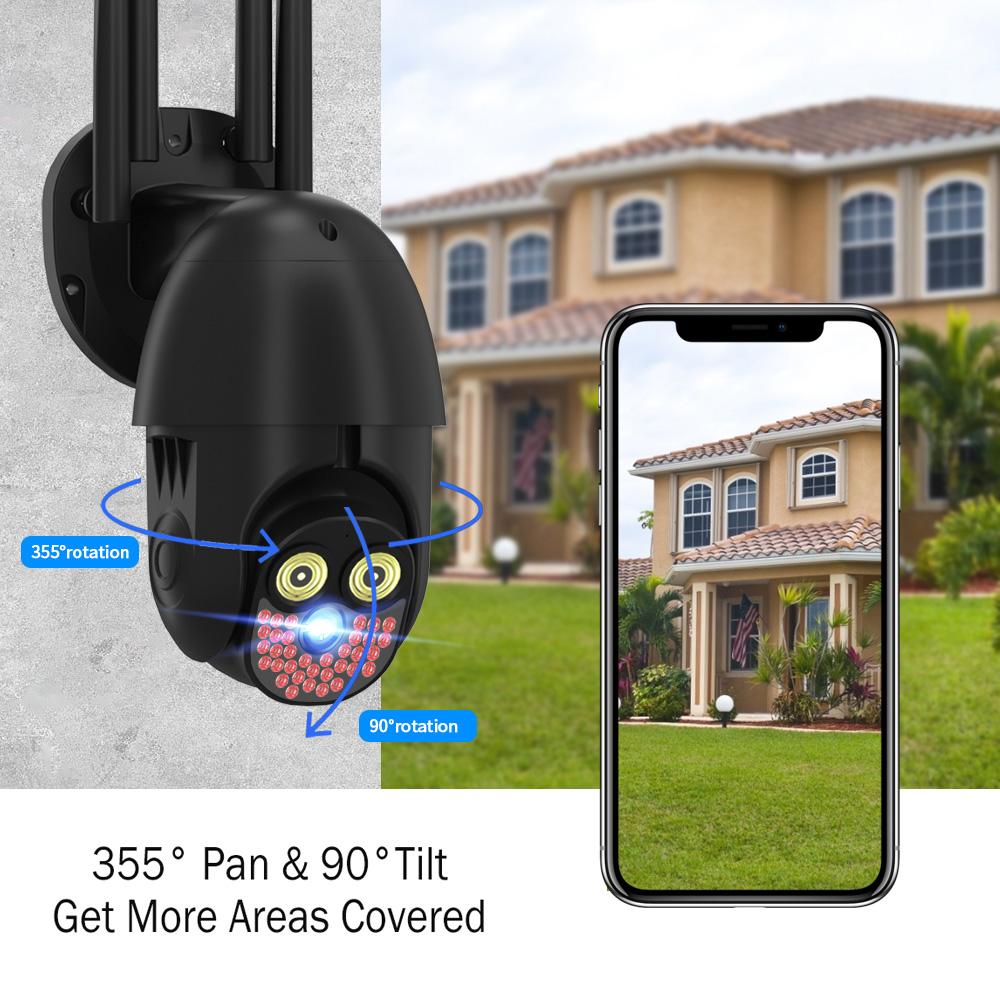 Guudgo 36LED 2MP PTZ Wireless IP Camera Waterproof Night Vision Two-way Audio Alarm 1080P WiFi Security CCTV Camera