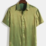 Mens Casual Solid Color Turn Down Collar Short Sleeve Shirts