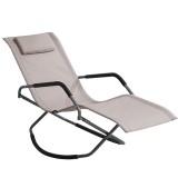 Metal Folding Rocking Chair Headrest Pillow Lounger Recliner Camping Travel Beach Chaise Max Load 150kg