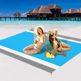 210x200cm Waterproof Beach Blanket 4-6 Persons Lightweight Sand Resistant Beach Mat Picnic Mat with Storage Bag Peg for Camping Hiking